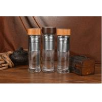China Eco Friendly Double Wall Glass Water Bottle Bamboo Lid For Children Drinking wholesale