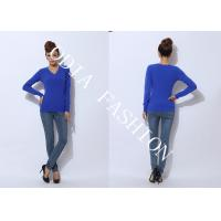 China Blue Pullover Womens V Neck Sweater /  womens cotton sweaters Anti-pilling wholesale