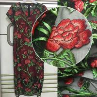 China 3D Rose Flower Embroidered Mesh Wedding Lace Fabric By The Yard For Women Dress wholesale