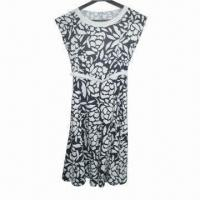 China Fashionable Printed Linen Women's Shift Dresses with Belts wholesale