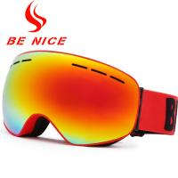 China Anti Glare Red Ladies Mirrored Ski Goggles Uv Protection With TPU Frame wholesale