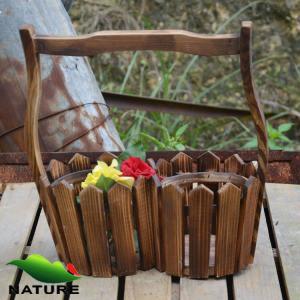China Wood product » Wood planter & pot » Garden Wood Basket Shaped Flower Planter wholesale