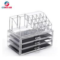China Transparent cosmetics space saving storage shelf display stand rack wholesale makeup organizers wholesale