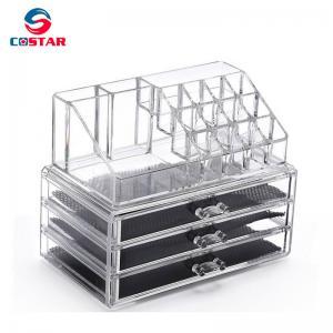 China Transparent cosmetics space saving storage shelf display stand rack wholesale makeup organizers wholesale