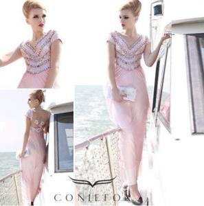China beading stripe sumer beach dresses,  pink cap sleeve beach party dresses wholesale