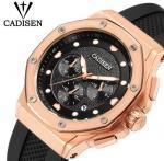 China CADISEN Men Silicone Band Multifunction Waterproof 30m Chronograph Wrist Watch Fashion Style Men Quartz Watch C9058 wholesale