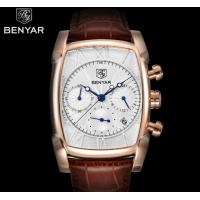 China Wholesale Benyar Antique Square  Men Genuine Leather Strap Chronograph Multifunction Quartz Wrist Watches  BY-5113M wholesale