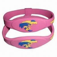China Silicone Bracelet with Anion Energy, Sports, Comes in Pink Color, OEM Orders are Welcome wholesale