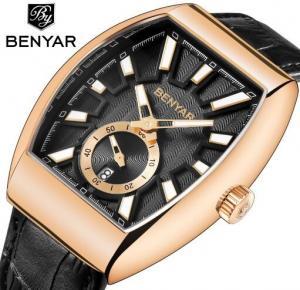 Quality Wholesale Benyar Men Retro Barrel Shaped Genuine Leather Band Quartz Watch BY for sale