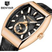 Buy cheap Wholesale Benyar Men Retro Barrel Shaped Genuine Leather  Band Quartz  Watch BY-5136M from wholesalers