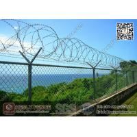 China Galvanised Chain Link Fence with 50mm diamond hole and Y post with concertina razor wire wholesale