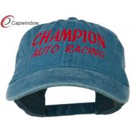 Quality Navy Champion Auto Racing Embroidered Washed Baseball Caps with Cotton for sale