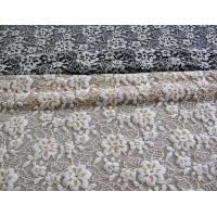 China Floral Brushed Elastic Lace Fabric Ivory Stretchable AZO Free Dyeing CY-LW0652 wholesale