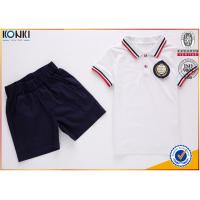 Buy cheap Custom school uniform polo t shirts with stripe collar and cuff for boys and from wholesalers
