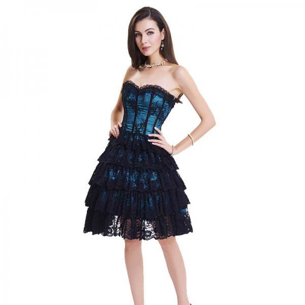 Dark Blue Lace Steel Bone Corset Dress side