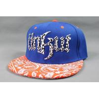 China Flat 3D Embroidery Printing Hip Hop Baseball Caps , Orange Amoeba Pattern wholesale