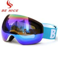 China Colorful Mens Snowboarding Goggles Reflective Lens White Frame For Snow Sport wholesale