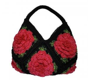China crochet hobo women black bag handmade bag on sale