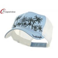 China Light  Blue Plaid Straw Trucker Mesh Hats Unconstructed with Cotton and Polyester wholesale