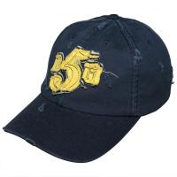 China Black / Blue Kids Baseball Caps Velcro Strap Back Hats With Flat Embroidery wholesale