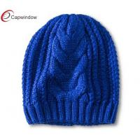 Quality Women Heavy Knitted Beanie Winter Hats , Colored Pure Acrylic / Woolly Hat for sale