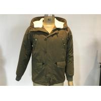China Army Green Mens Medium Trench Coat Sherping Lined Cotton Filling Casual Hooded Jacket on sale
