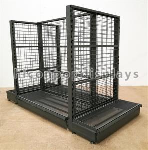 China Supermarket / Retail Gondola Shelving Black Heavy Duty Double Sided Display Stand wholesale