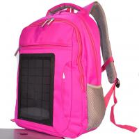 China Pink Womens Hiking Solar Charging Backpack With Charger Built In wholesale
