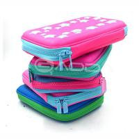 China High Quality PU Leather Hard Pencil Case With Zipper / Custom Pen Bags with Embossed Logo wholesale