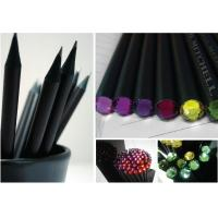 China Black wood hb pencil with crystal head,black wooden pencil with crystal diamond wholesale
