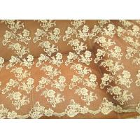 China Gold Retro Scalloped Corded Lace Fabric , Polyester Embroidered Floral Tulle Fabric wholesale