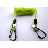 China Green Transparent Retractable Safety Lanyard Spring Spiral Coil Cable With Safety Hooks wholesale