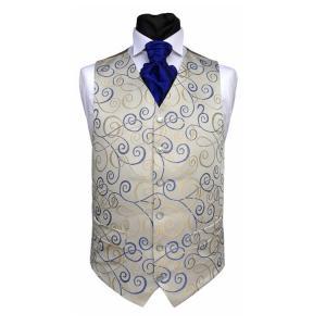 China Gentlemen's blue paisley waistcoat&cravat&hanky set on sale