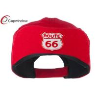 China Red Route 66 Cotton Baseball Caps with Adjustable Velcrorized Strap Closure wholesale