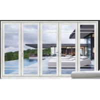 China White Double Folding Doors / Clear Collapsible Patio Doors With Glass on sale