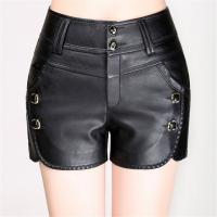 China Faux Leather PU Slim Fit  Black Womens Casual Shorts For Spring / Autumn / Winter wholesale