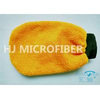 China Orange Coral Fleece Microfiber Car Wash Mitt 80% Polyester 4.4 x 8.8 wholesale