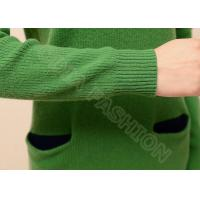 Quality Green Crew Neck Womens Cable Knit Sweaters Long Pullover Dress with Pockets for sale