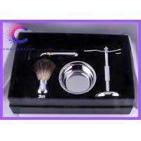 China Metal handle black badger shaving brush and bowl set for mens gifts wholesale