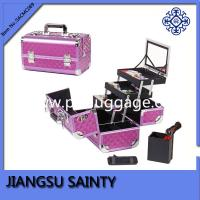 China Purple diamond ABS hard makeup case with mirror wholesale