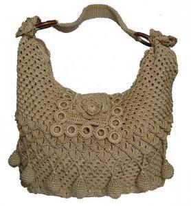 China Fashion  Handmade crochet hobo women beige bag on sale