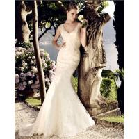 China beautiful Deep V Neck Mesh mermaid Wedding Dresses Women Lace Wedding Gowns wholesale