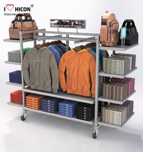 China Flooring Gondola Retail Display Shelving Metal 4 - Way Hanging Apparel Display Rack wholesale