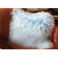 Mongolian fur Pillow Luxurious Purple Dyed Single Sided Soft Fluffy Fur Bed