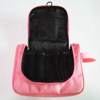 China Cute Nylon Hanging Travel Makeup Bag Pink Color For Women Wash wholesale