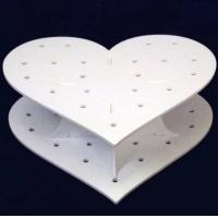 China  Heart Shape Double Acrylic Wedding Cake Stand / White Display Stands  for sale