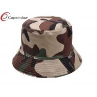 China Mens Camouflage Printed Fisherman Bucket Hat With A Woven Label wholesale