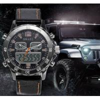 China Smael Men Multifunction Dual Time Travel Alloy Pu Strap Chronograph Waterproof 50m Wrist Watches 1281 wholesale
