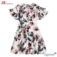 China 89D17384 Fashion Round Neck Lotus Leaf Sleeve High Waist Floral Print Linen Dress Women wholesale
