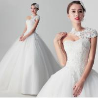 China Luxurious Lace Appliques Princess Wedding Dress with one shoulder , white wholesale
